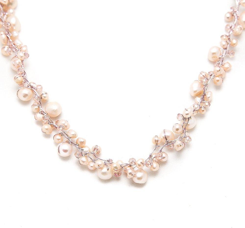 "Genuine Cultured Freshwater Pearl Three (3) Strand Silk Thread Princess Length Necklace 17-19"""