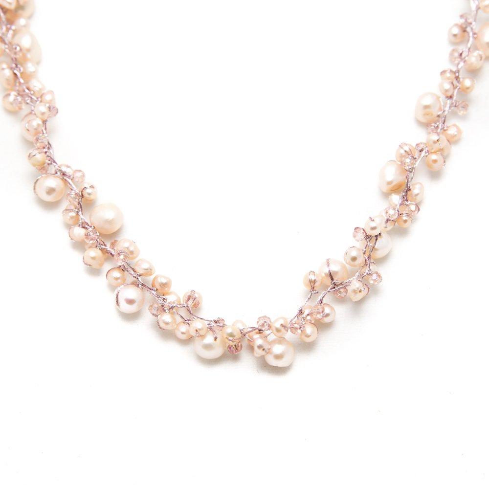 Peach Genuine Cultured Freshwater Pearl Three (3) Strand Silk Thread Princess Length Necklace 17-19''
