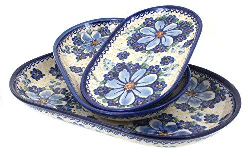 Blue Rose Polish Pottery Daisy Surprise 3 Piece Oval Server Set