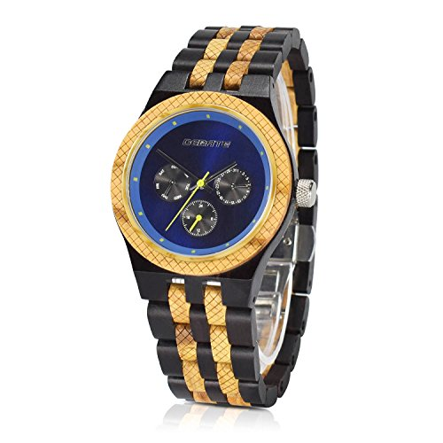 Wood Watch for Men Sub-Dials Quartz Analog Round Blue Dial Watch Men Lightweight Wooden watch with Adjust Tool