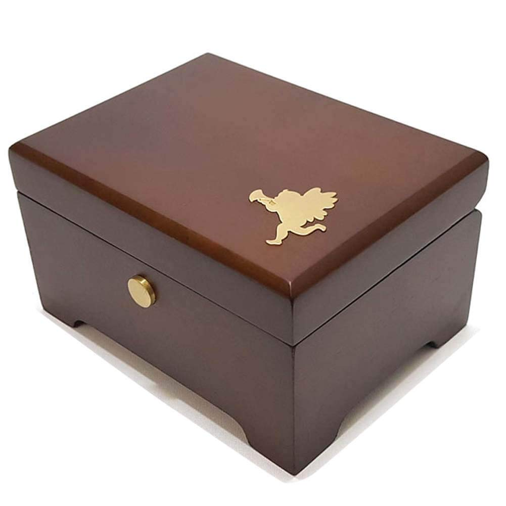 Wind Up Musical Box in Wood Case for Gift, Tune by a British Folk Song Greensleeves, Mr. Sunshine' OST, 4.7'' x 3.5'' x 2.8'', Dark Brown