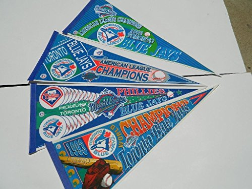 4 PENNANT LOT 1992/1993 TORONTO BLUEJAYS WORLD SERIES AMERICAN LEAGUE CHAMPION (Series World 1993 1992)