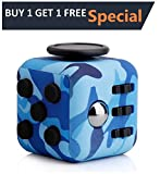 Fidget Cube Prime by P Core Sports - Helps Increase Focus and Relieves Anxiety and Stress. Use at home, School, Office or on the go. For Kids and Adults (Camouflage Blue)