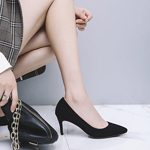 Lado 7cm elegante Negro vacío 38 solo ligero Sandalias tacones de AJUNR y carrera Transpirable fino zapatos 37 Moda wI5qXZU