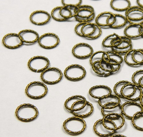 300 Jump Rings, Antiqued Gold-plated Brass, 6mm Twisted Round, 20 Gauge Open Jewelry Connectors Chain Links Sold Per Pkg of 300