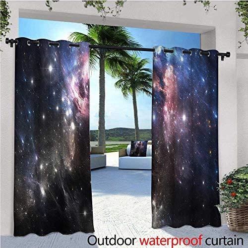 Single Supernova (warmfamily Constellation Indoor/Outdoor Single Panel Print Window Curtain Vivid Supernova Silver Grommet Top Drape W108 x L84)