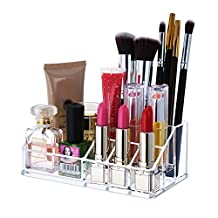 Moyishi Crystal Cosmetic Organizer Lipstick Storage Box Acrylic Makeup Organizer with 12 Lattices and 4 Sections (8.77inx5inx3.14in)