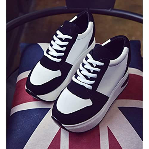 c9516e3aba1 YC WELL Womens Increased Within The Higher Flat Shoes Casual High Heels  Wedge Platform Sneaker Flat