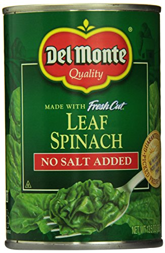 Del Monte Leaf Spinach, No Salt Added, 13.5 Ounce