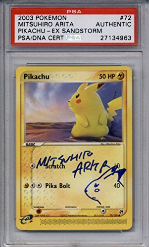 Pikachu Blue Ink Sketch PSA/DNA AUTOGRAPH #72/100 by Mitsuhiro Arita EX Sandstorm Photo - Pokemon Gaming