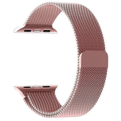 Apple Watch Band 38mm, KYISGOS Strong Magnetic Milanese Loop Stainless Steel Replacement iWatch Strap for Apple Watch Series 2, Series 1 Nike+ Sport and Edition, Rose Gold