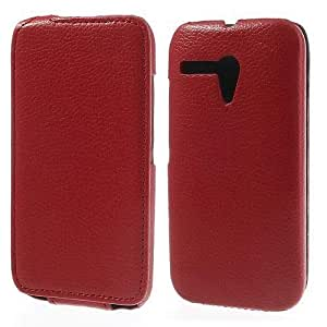 Slim Jacket Motorola Moto G DVX XT1032 Flip Leather Case Cover Include Calans Screen Protector -(Red)