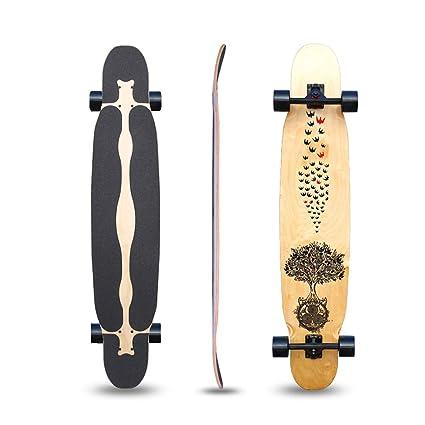 monopatín Skateboard de Arce Longboard elástico de 46 Pulgadas Rueda ...