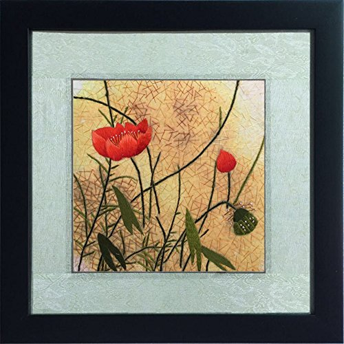 Silk Art 100% Handmade Embroidery Framed Vivid Flowers blooming in Autumn Painting Gift Oriental Asian Wall Art D¨¦cor Artwork SilkArt020