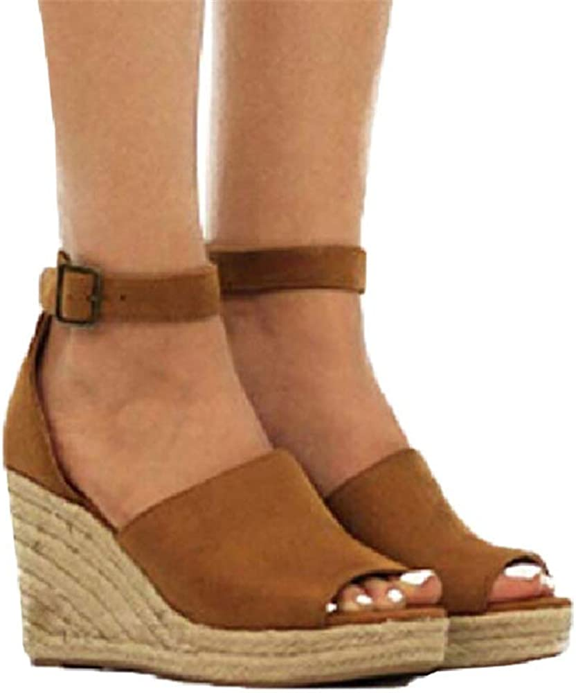 Aniywn Summer Women Sandals Espadrille Wedge Sandals Peep Toe Ankle Strap High Wedge Platform Shoes