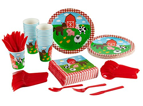 Birthday Party Paper Cups - Disposable Dinnerware Set - Serves 24 - Farm Animals Party Supplies for Kids Birthdays - Includes Plastic Knives, Spoons, Forks, Paper Plates, Napkins, Cups