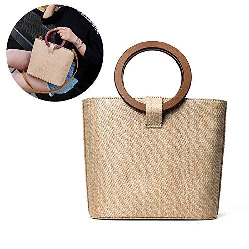 Majome Bolso redondo del bolso del bolso de Crossbady del hombro de la señora Straw Shoulder Women Fashion para el recorrido de la playa