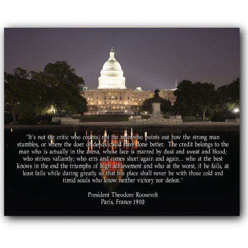 """VictoryStore 8"""" x 10"""" Ceramic Tile - U.S. Capitol Theodore Roosevelt in The Arena Quote"""