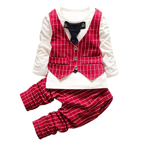 Omiky® Kleinkind Baby Boys Plaid Print Tops + Hosen + Coat Outfits Kleider Set Rot