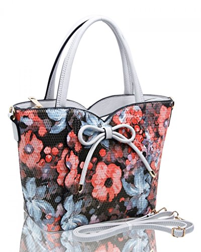 BOW Tote GREY Handbags BAG FLOWER Faux Women's Leather LeahWard With Shoulder Grab Bags Bow 32 wZTAOxnUq