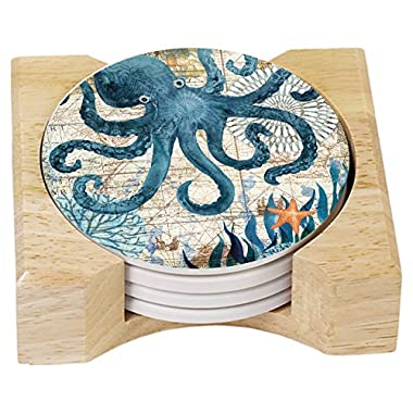CounterArt Absorbent Coasters in Wooden Holder, Monterey Bay Octopus, Set of 4