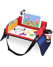 Kinderknietdienblad voor kinderen, speeltafel met wisbare tekenplank en 6 gekleurde potloden voor spel en eettafel, speeltafel, autostoeltafel voor buggy's, kinderwagen, auto, auto, vliegtuig, trein