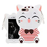 Leosimp White Cat Case for iPhone SE 5 5S 5C,Cute 3D Cartoon Fashion Animal Cover,Kids Girls Fun Special Soft Silicone Gel Rubber Kawaii Cool Character Unique Shockproof Shell Skin Cases for iPhone5