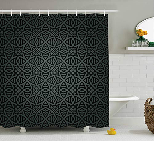 - Ambesonne Dark Grey Shower Curtain, Medieval Folkloric Ornament Celtic Pattern Vintage Style Abstract Floral Circles, Fabric Bathroom Decor Set with Hooks, 84 Inches Extra Long, Green Charcoal