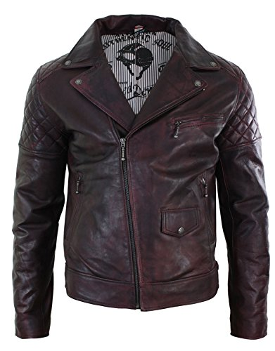 Mens Vintage Washed Wine Maroon Real Leather Biker Jacket Cross Zip Retro Casual (Washed Biker Leather Jacket)