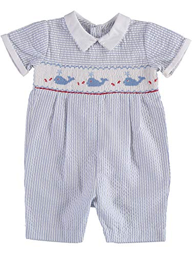 - Baby Boy Short Romper Hand Smocked Whales in The Sea on Blue Seer Sucker Striped Fabric