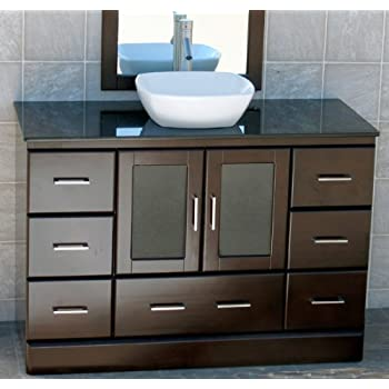 this item 48 bathroom vanity cabinet black granite top ceramic vessel sink faucet m15 combo