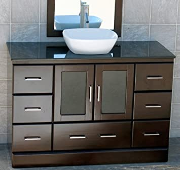 bathroom vanity with cabinet on top. 48 quot  Bathroom Vanity Cabinet Black Granite Top Ceramic Vessel Sink Faucet M15 combo
