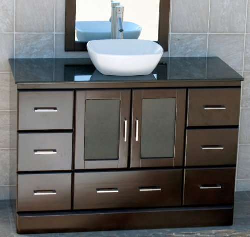 "48"" Bathroom Vanity Cabinet Black Granite Top Ceramic Vessel Sink + Faucet M15 (combo)"
