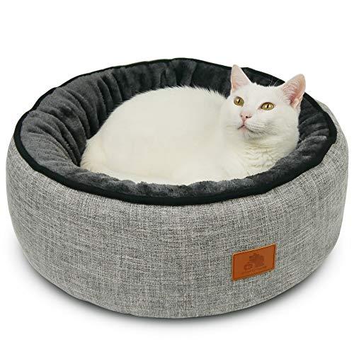 SCHLITZOHR Donut Katzenbett Sissy rund | waschbares Premium Bettchen für Katzen & Hunde in edlem grau | inklusive extra…