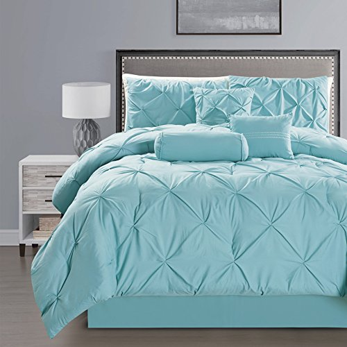 7 Pieces Double-Needle Stitching Pinch Pleat Solid LIGHT BLUE Comforter Set KING Size Bedding (Light Blue Bedding)