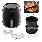 GoWISE USA A 5.8-Quart XL 8-in-1 Digital Touchscreen Air Fryer with 6-piece Accessory Set, Black GW22831 + 50 Recipes For your Air Fryer Book