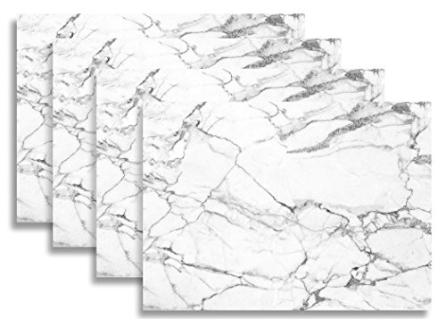 Set of 4 Placemats By Blissful Living, Heat and Stain Resistant - Decorate your kitchen table with our beautiful rectangle pad placemat (White (Like Marble)