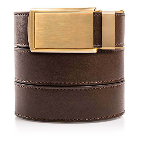 - SlideBelts Men's Vegan Leather Belt without Holes - Brushed Gold Buckle/Mocha Brown Leather (Trim-to-fit: Up to 48