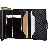 Porta Carta di Credito,Portafogli Multifunzionale in Pelle RFID in Alluminio,Portafoglio da Viaggio Slim Mini