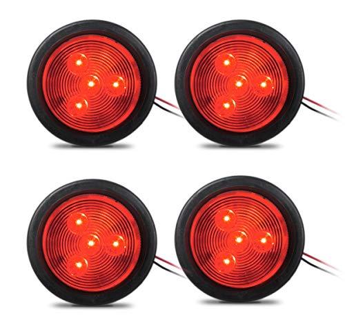 Partsam 2.5 Red Round Sealed Clearance Marker Light 4LED Flush Mount 12V Qty4, 2-1/2 Round LED Side Marker, Clearance or Identification Lights, Grommet Mount