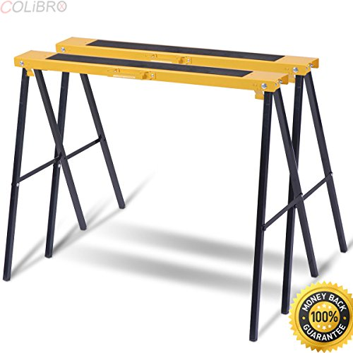 COLIBROX--New 2 Pack Heavy Duty Saw Horse Steel Folding Legs Portable Sawhorse Pair. kobalt 42 in steel adjustable saw horse. best sawhorse system with clamp amazon. sawhorses harbor freight. (Sawhorse Folding Steel)