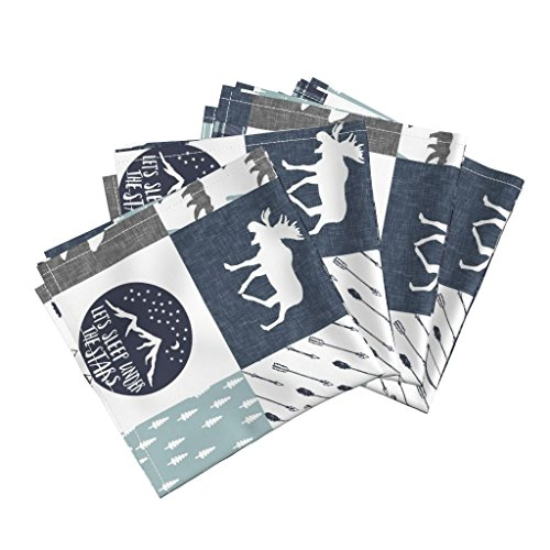 Cotton Dinner Napkins Boy Cheater Quilt Wholecloth Cheater Quilt Navy Plaid Moose Baby Boy Woodland by Littlearrowdesign Set of 4 Dinner Napkins ()