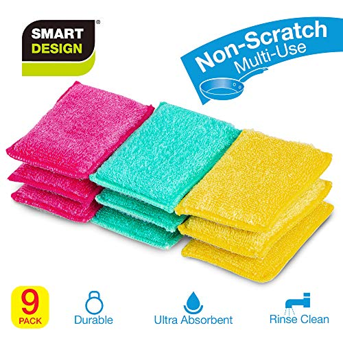 Smart Design SmartCloth Scrub Sponge w/Antibacterial Fibers - Non-Scratch & Ultra Absorbent - Soft & Scrubber Side - for Cleaning, Dishes, Hard Stains - Kitchen (9 Pack) [Pink, Green, Yellow]