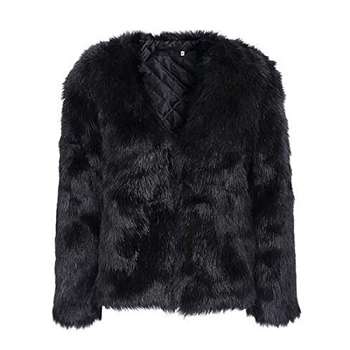 Fur Black Coat (Women's Winter Warm Fluffy Faux Fur Coat Hooded Jacket Cardigan Outerwear Tops for Party Club Cocktail (Black,US 0-2 = Asian S))