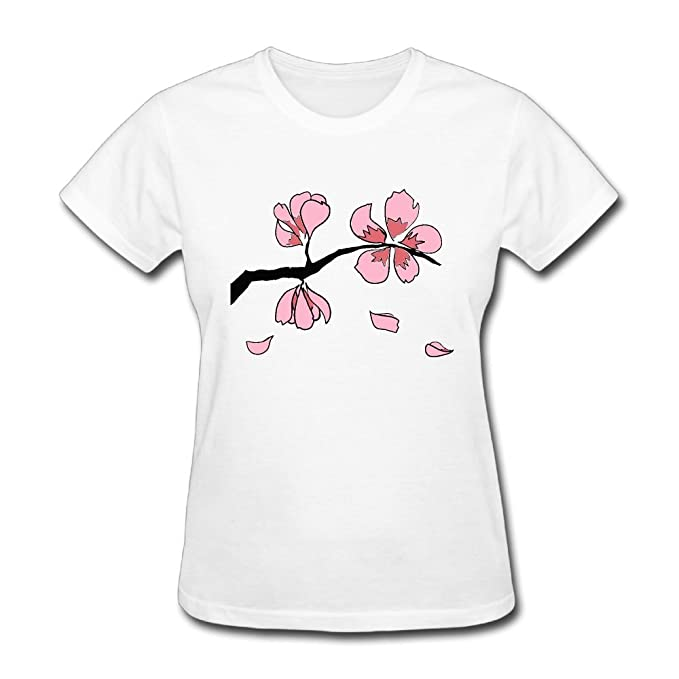 77bbf254cae Amazon.com  Sakura Branch Woman Round Neck Short Sleeve Tee Shirts Plus  Size Clothes Tops for Women  Clothing