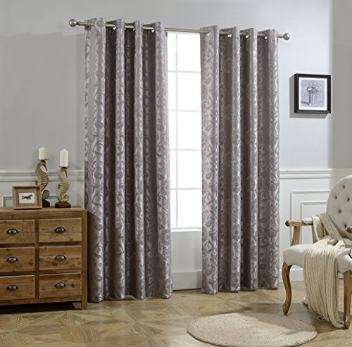 Allbright Jacquard Thermal Insulated Blackout Curtains With Waterproof Coating Back Layer For Dining Room 52x 84 Inch Silver Gray,1 Panel