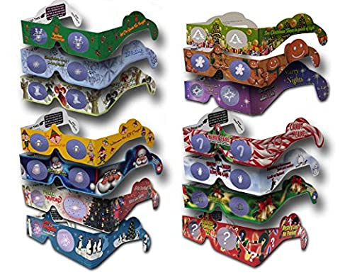 23 Pairs Holiday Eyes (TM) Christmas Glasses - 14 Different Styles - CHRISTMAS TREE & JINGLE BELLS - SHIPS - Jingle Bell Lights