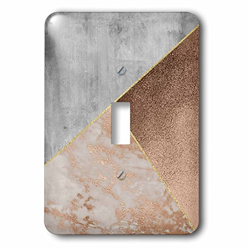 3dRose Uta Naumann Faux Glitter Pattern - Image of Abstract Trendy Geometrical Copper Marble Triangle Shapes - Light Switch Covers - single toggle switch (lsp_272811_1)