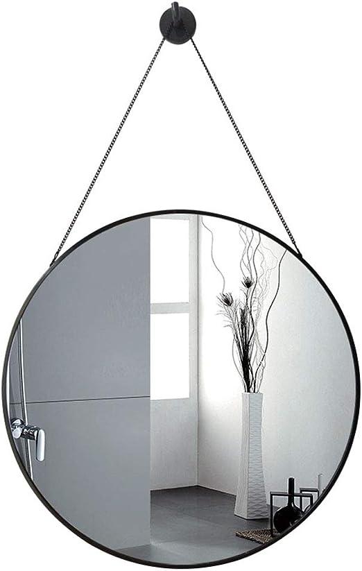 Amazon Com Round Bathroom Wall Hanging Mirror Makeup Shaving Mirror Metal Frame Decorative Mirror No Diy No Nail Needed 50cmx50cm Home Kitchen