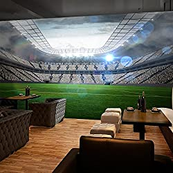"3D Wide Football Field 9 Wall Paper Wall Print Decal Wall Deco Indoor wall Murals Removable Wall Mural | Self-adhesive Large Wallpaper , AJ WALLPAPER Carly (82""x58""(WxH))"